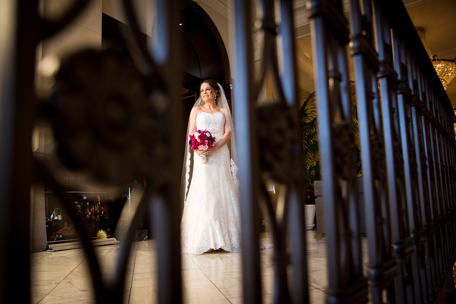 bride in lobby at us grant hotel