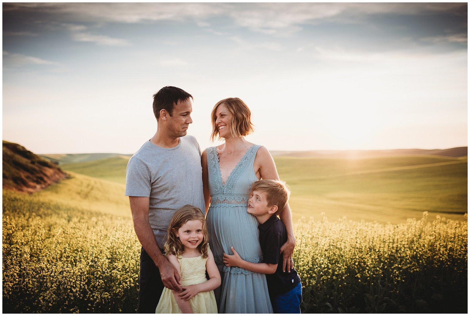 family photos at sunset in field of yellow flowers Emily Ann Photography Seattle Family Photographer