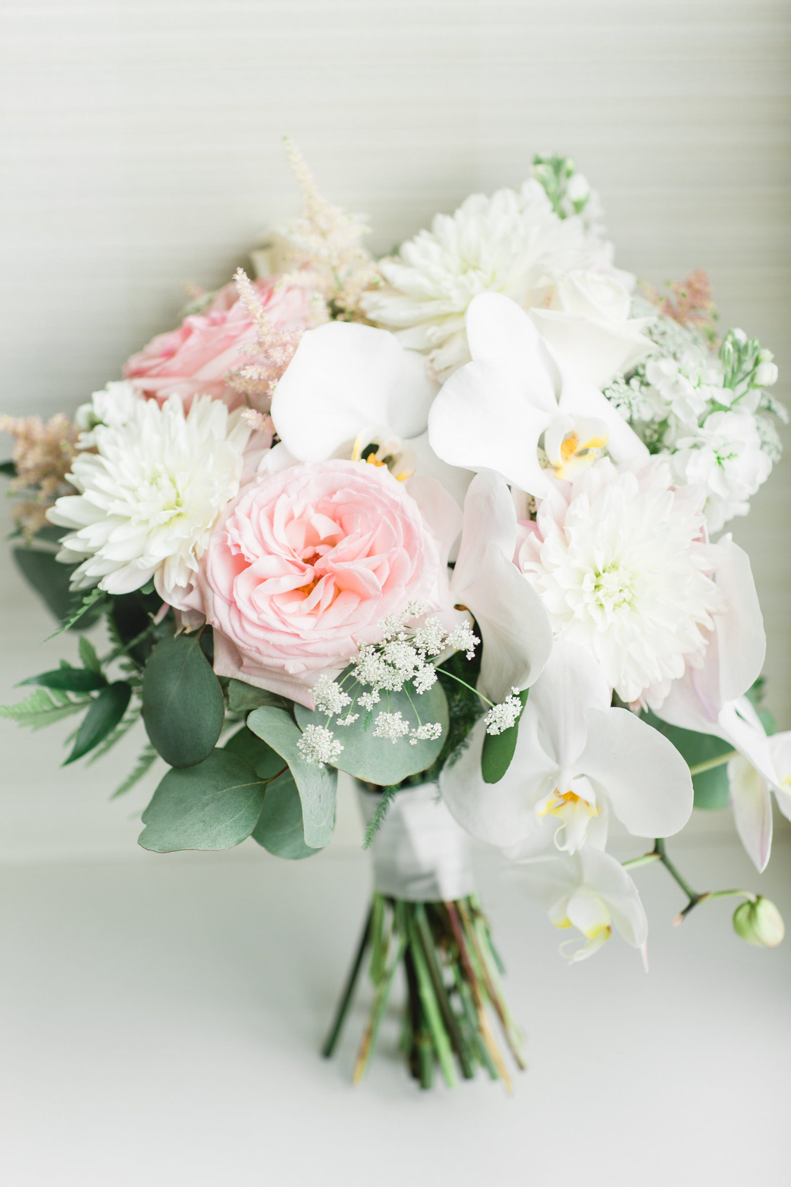 blush and orchids wedding bouquet