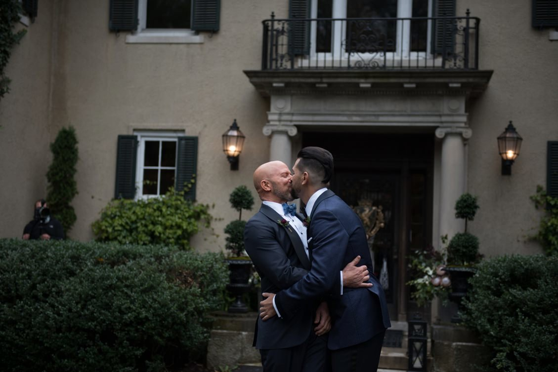 First look on Brendan & Ryan's wedding day at Lord Thompson Manor in CT