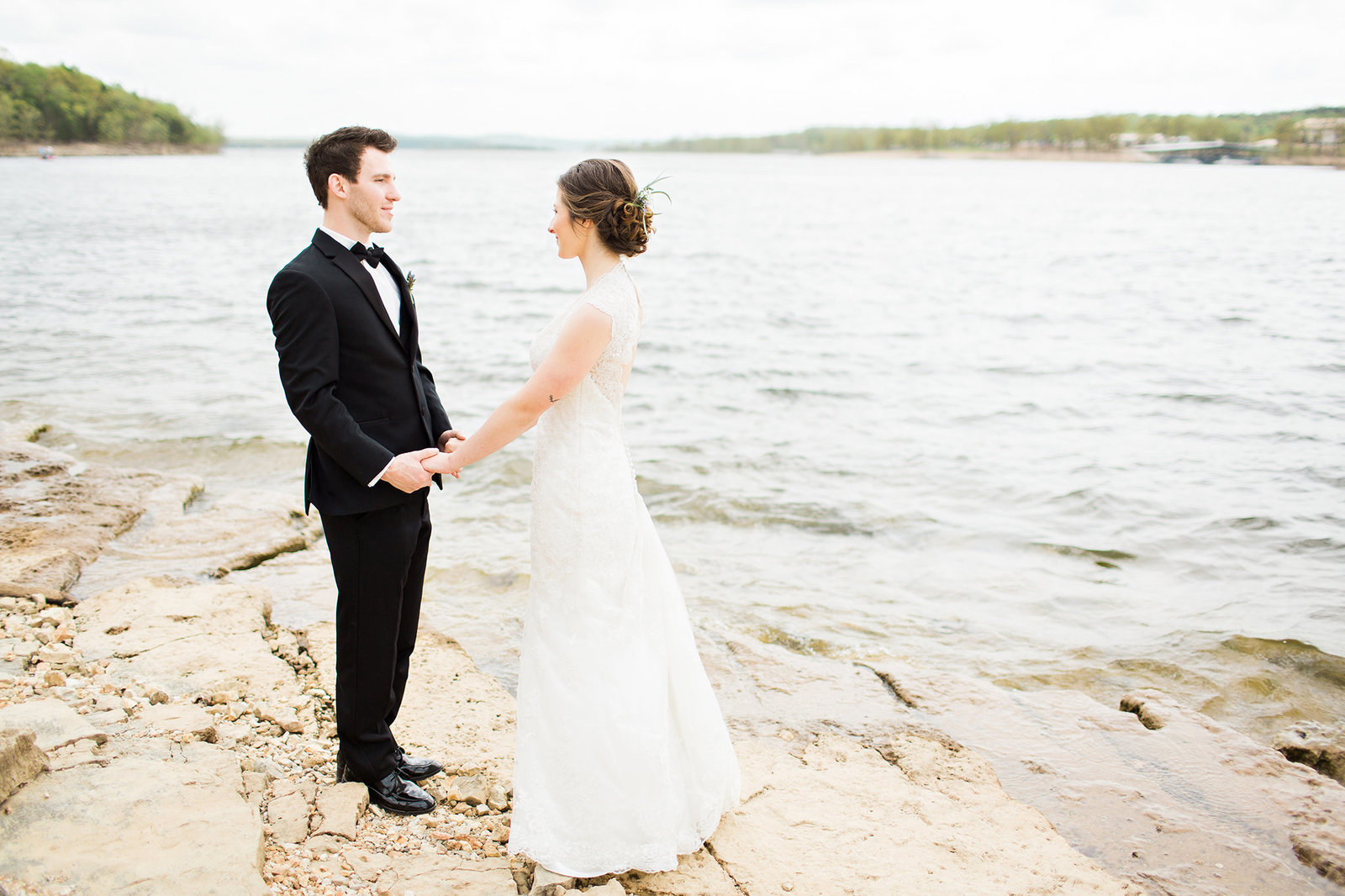 Couple enjoying a moment alone before their Lindwedel Winery wedding in Branson MO