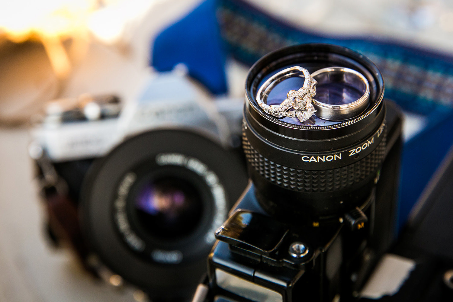 closeup of rings and a camera