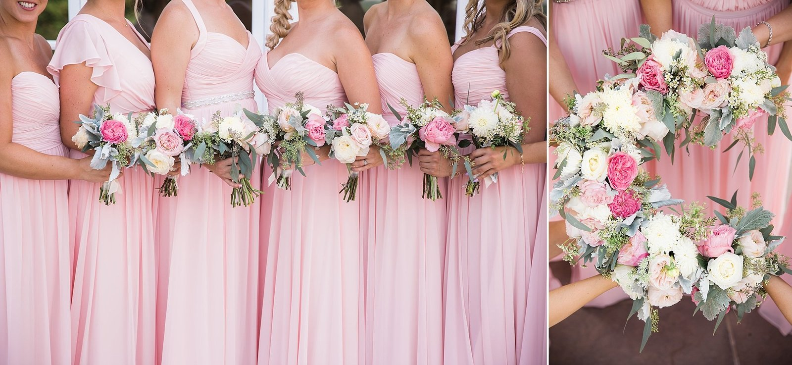 M Harris Studios_Trump National Golf Club Wedding_pink and white bouquets