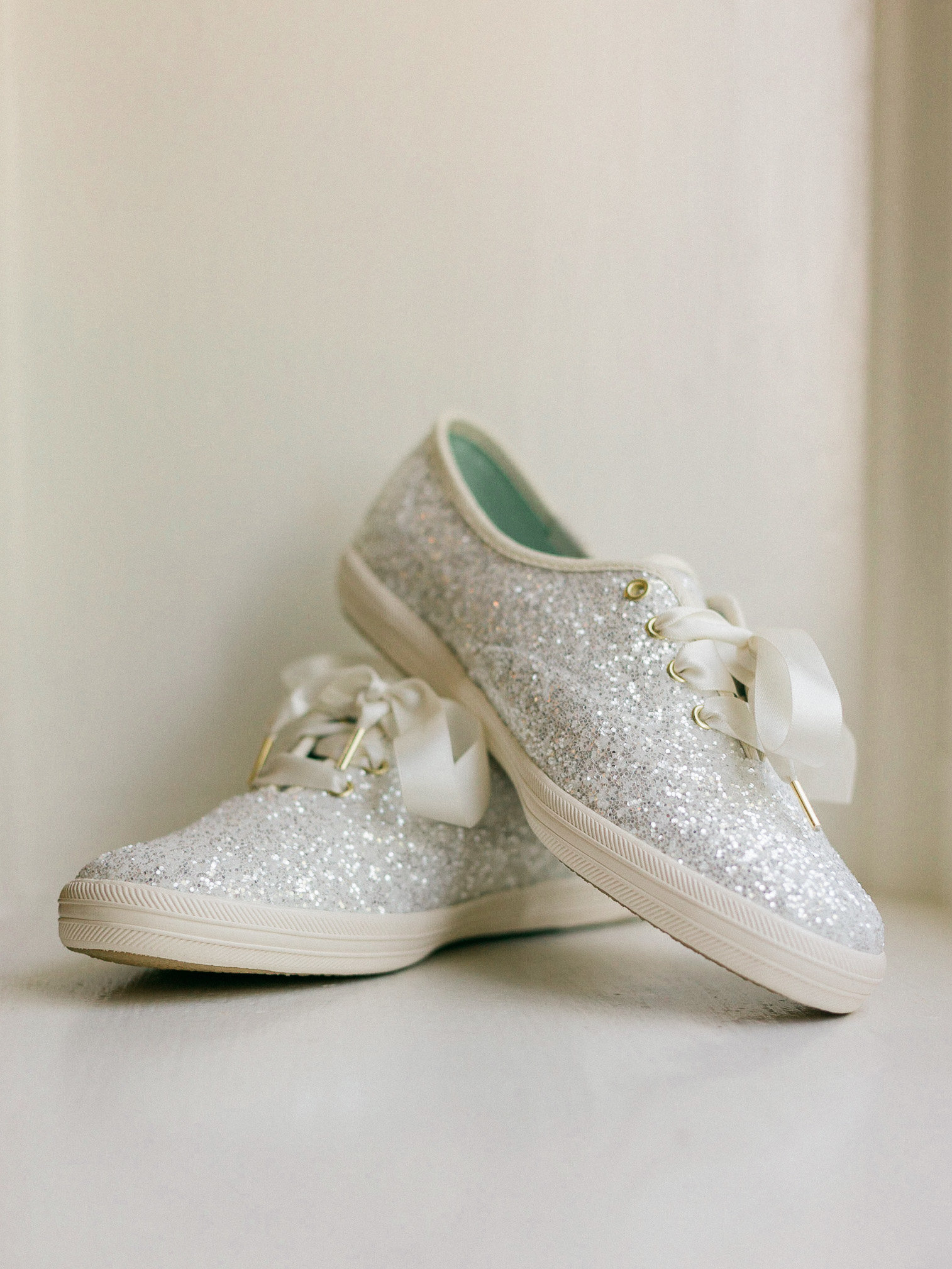 White sparkly Keds for a wedding