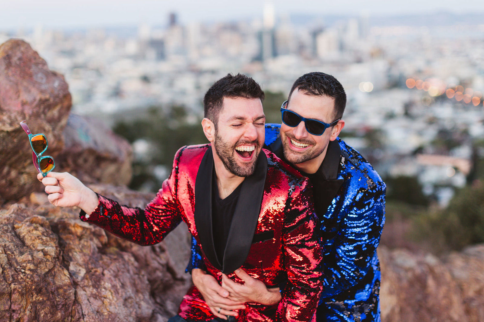 photos of LGBTQ+ couple taken at corona heights
