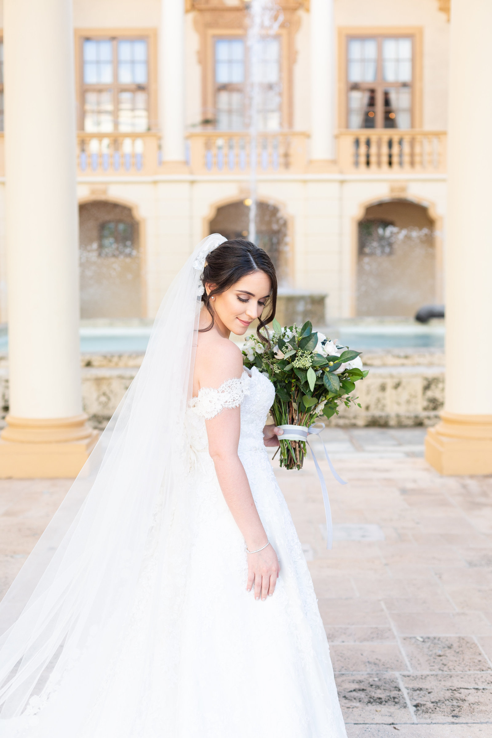 Biltmore-hotel-Miami-Florida-bride-wedding-dress-fountain-flowers-chris-and-micaela-photography-