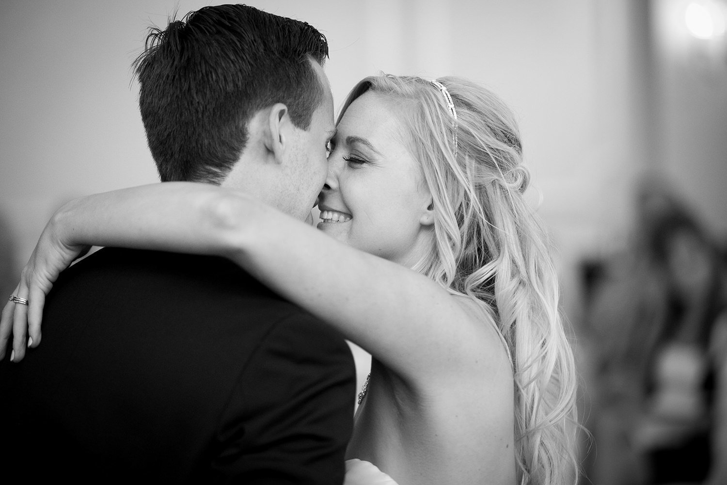 Sweet natural moment between the bride and her man
