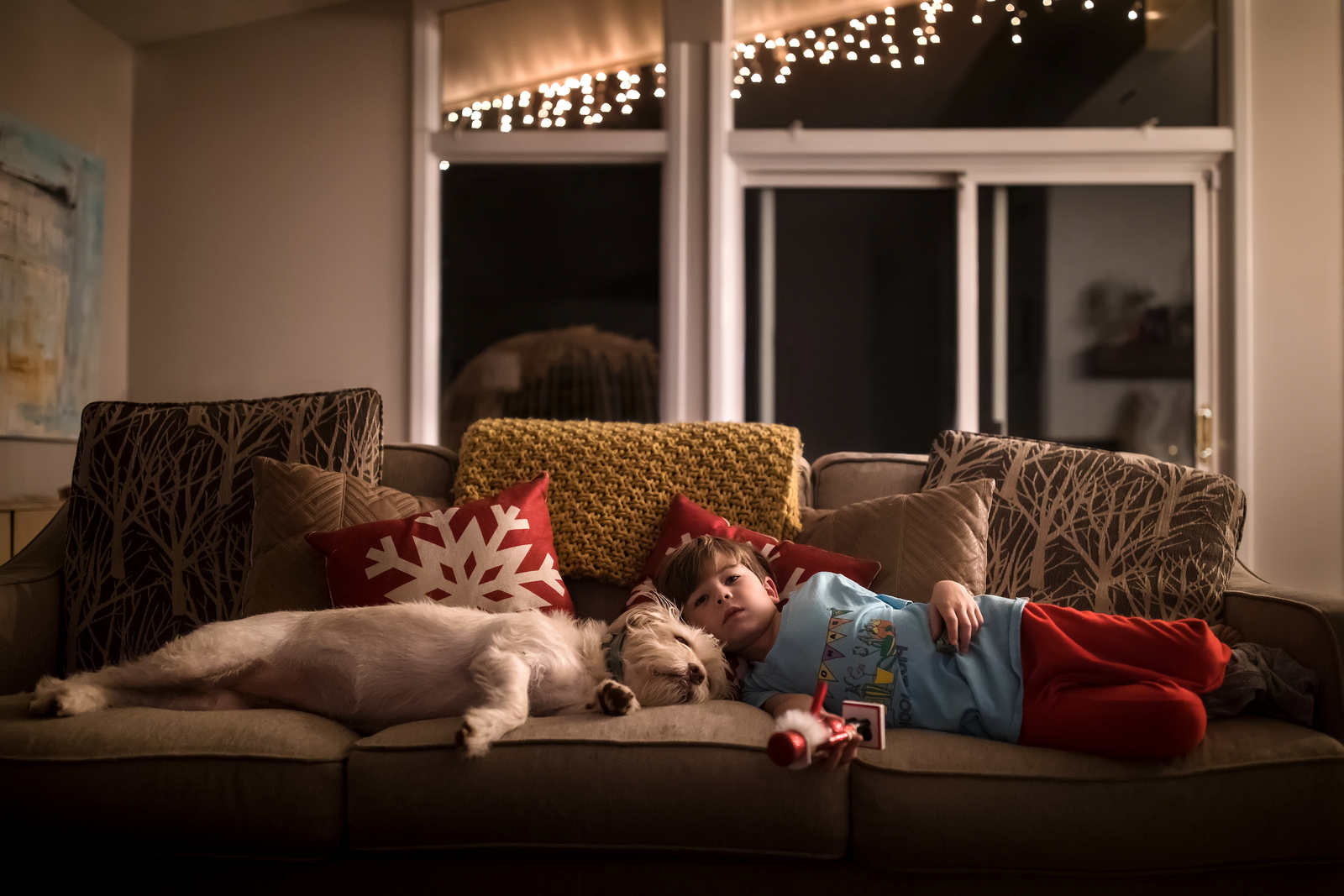 family photographer, columbus, ga, atlanta, documentary, photojournalism, christmas lights, boy and dog sleeping_9997