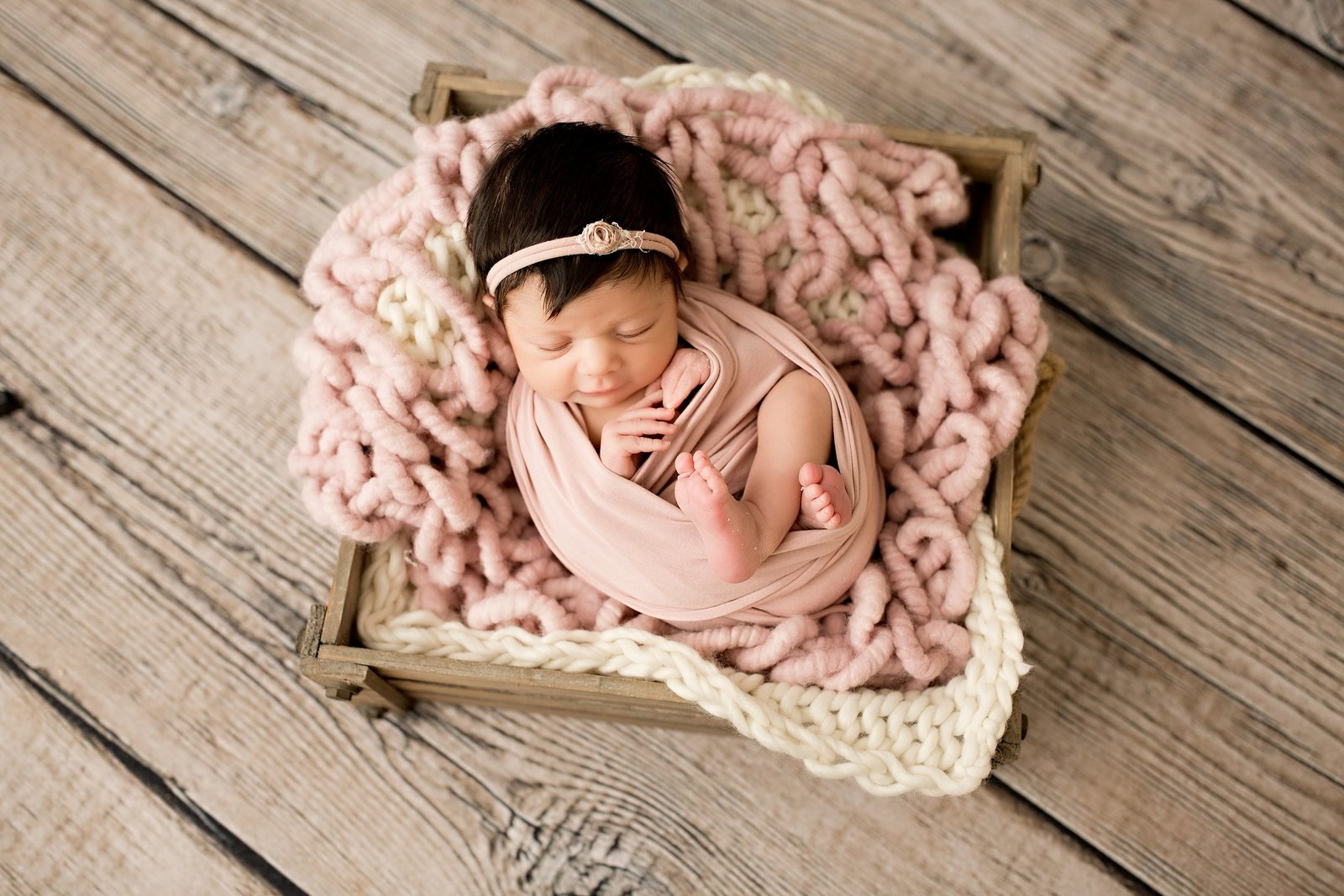 Styled newborn photo in Howell newborn studio
