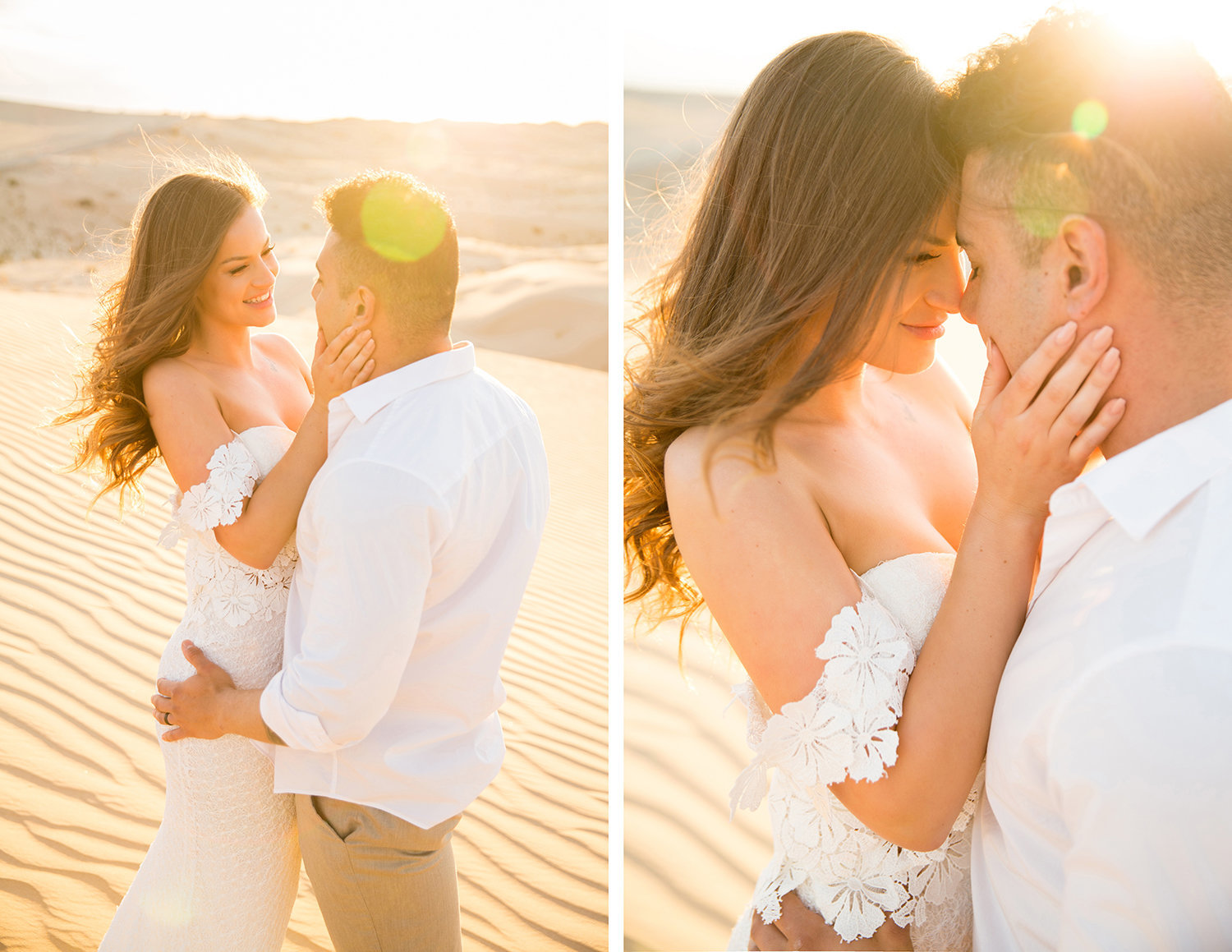 Bride and Groom Embracing During Sunset at Glamis Sand Dunes