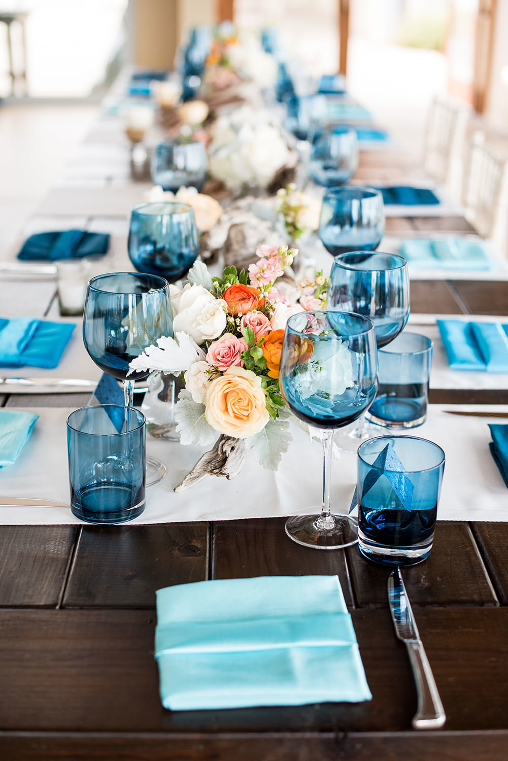 farm tables with blue and orange