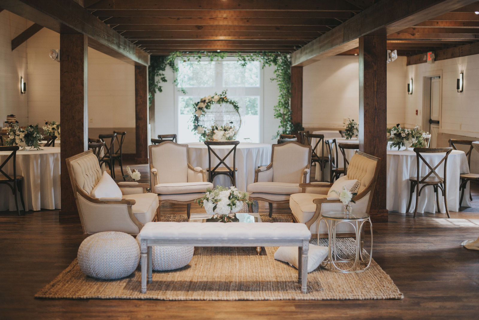 Beautiful event space with exposed wood beams