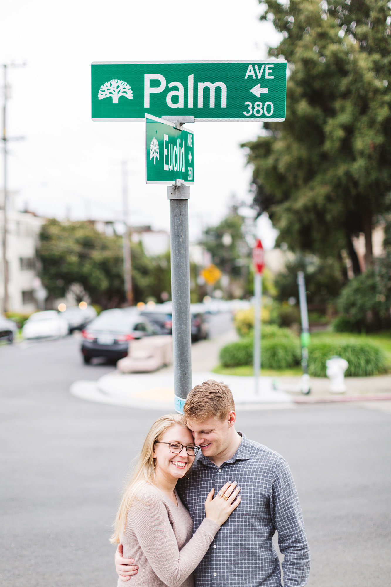 neighborhood  engagement shoot near the couple's home