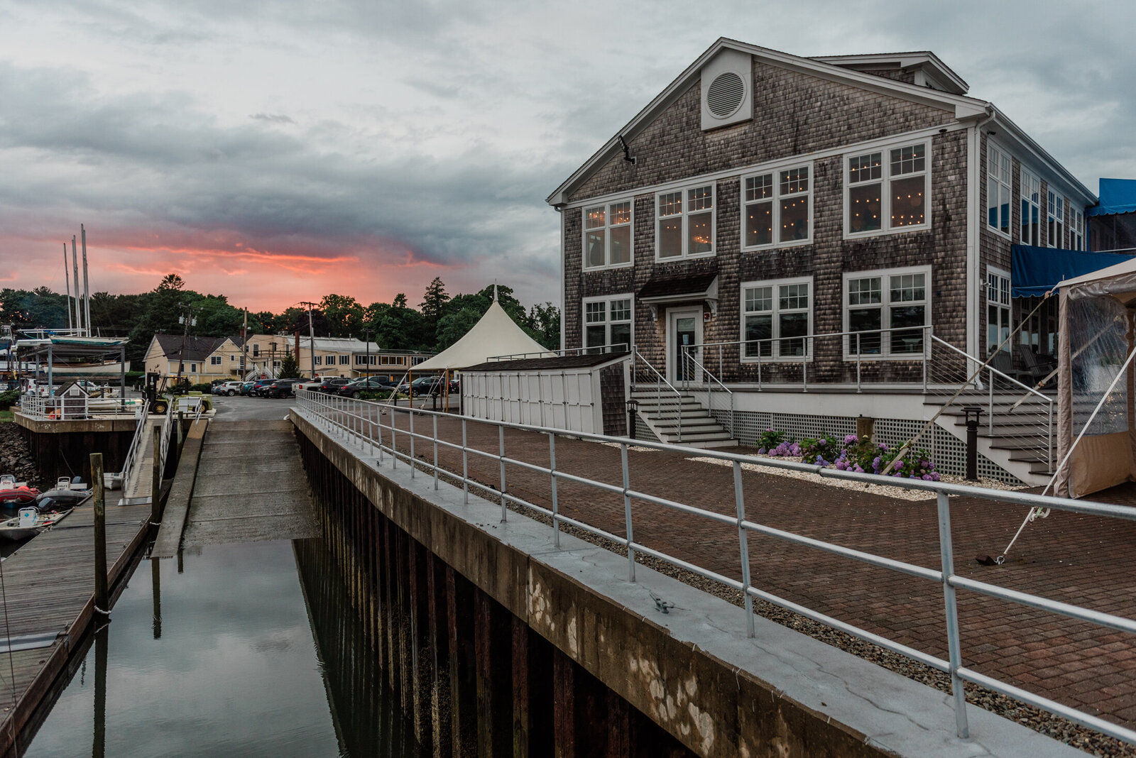 sunset over the waterfront wedding venue Duxbury Bay Maritime School