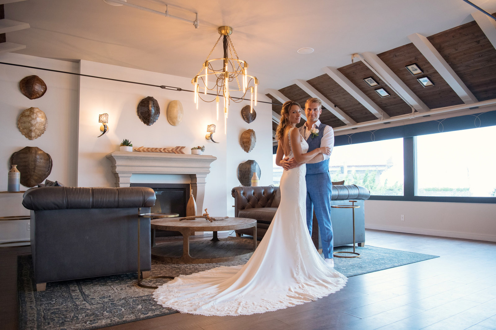 photo of bride and groom indoors from  Gurneys Montauk Resort wedding