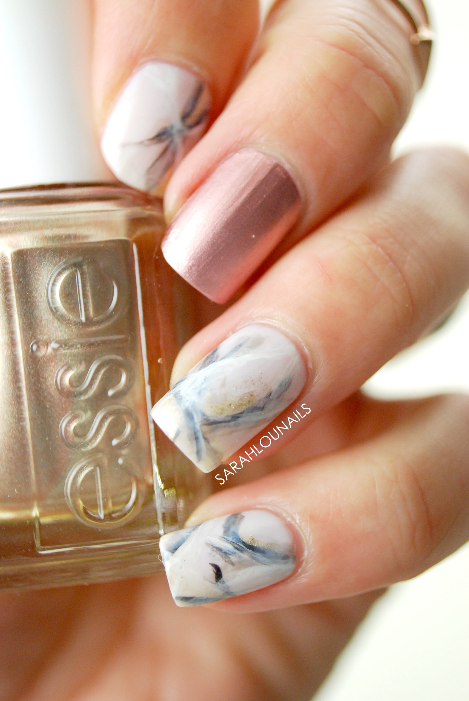 Rose Gold Marble Nails 2