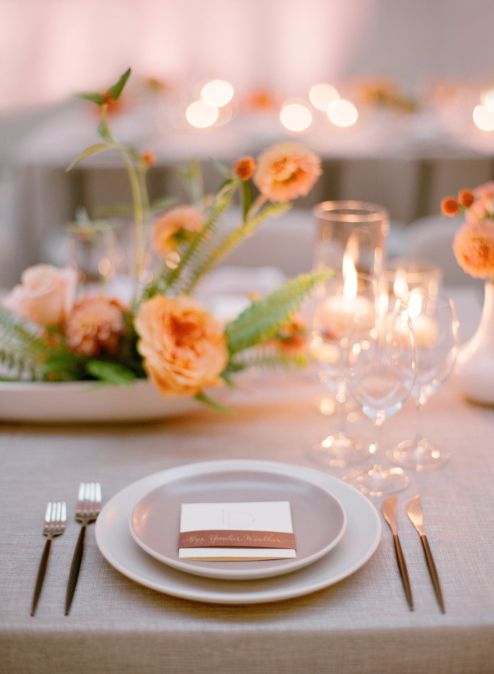 Tablescape for wedding welcome dinner by Jenny Schneider Events at the San Francisco Ferry Buidling. Photo by Lacie Hansen Photography.