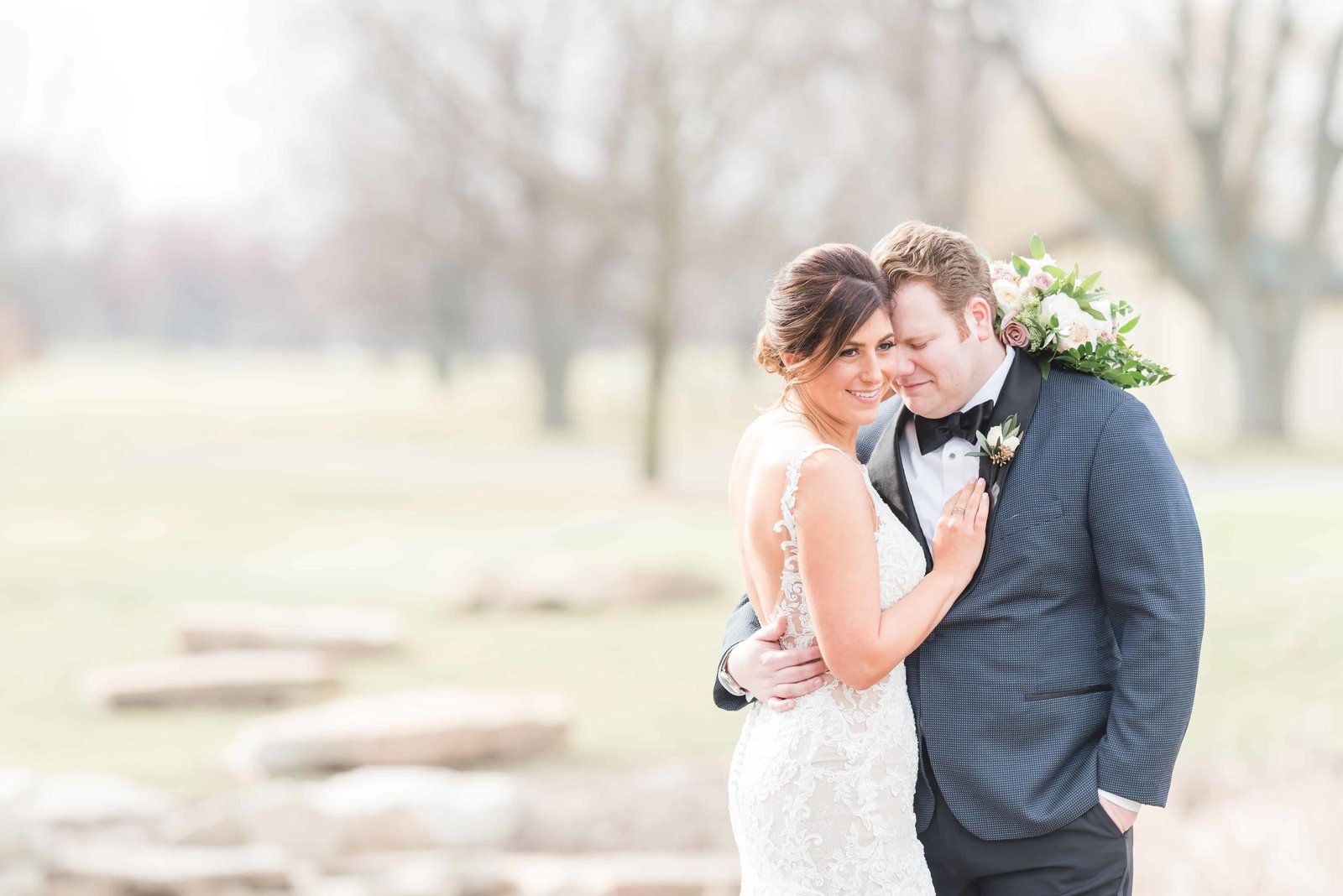 Bride and Groom sharing their first look at Chevy Chase Country Club.
