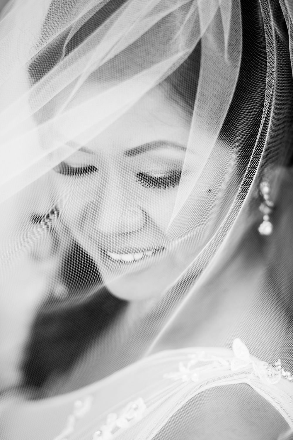 closeup of bride at ocean view room