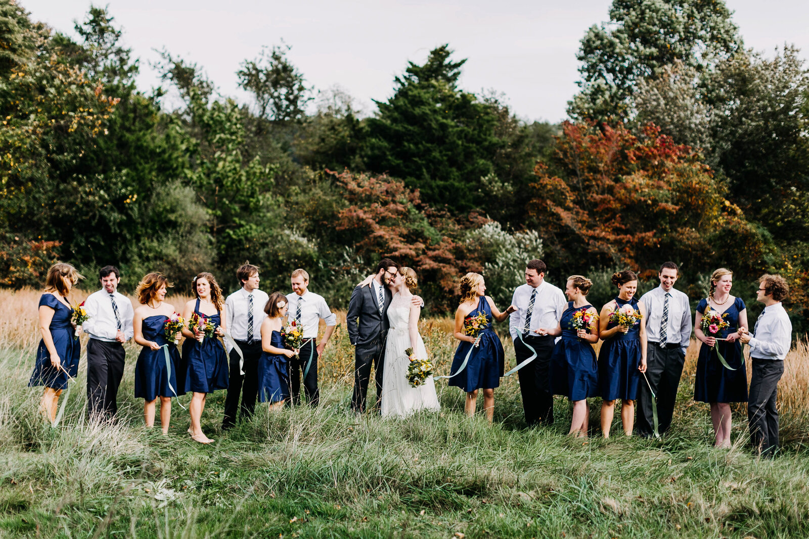 bridal party in fall nature mountains