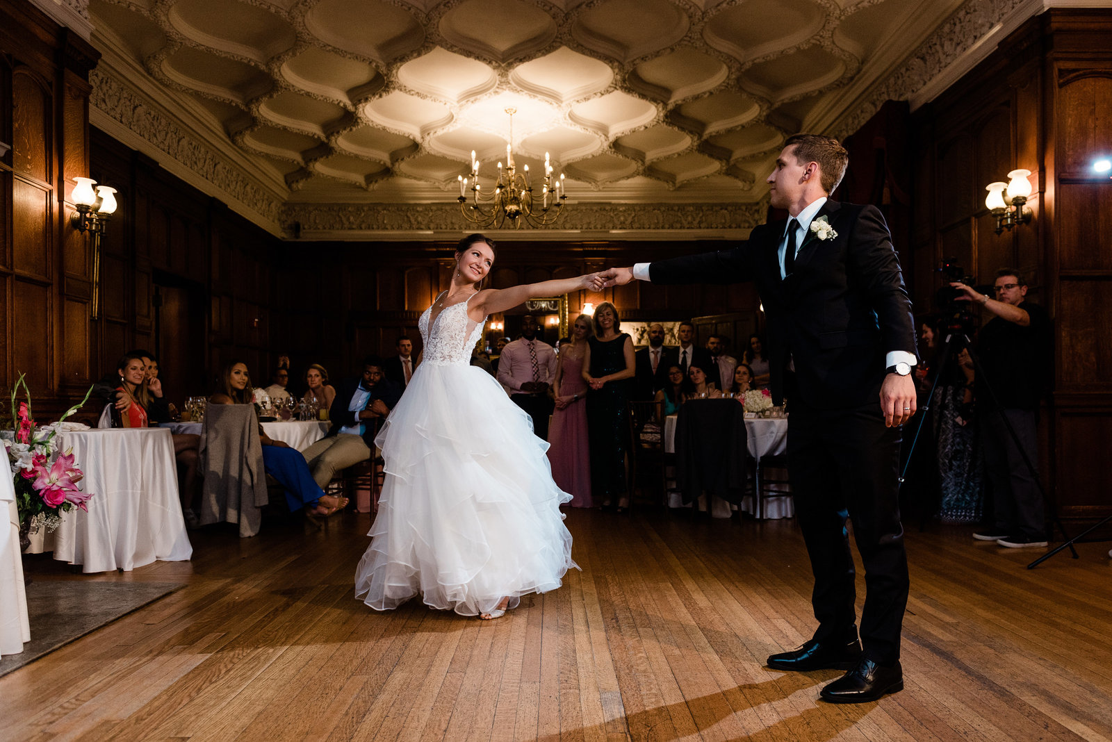 Couple shares their first dance at their Mansion at Turner Hill wedding in Ipswich MA