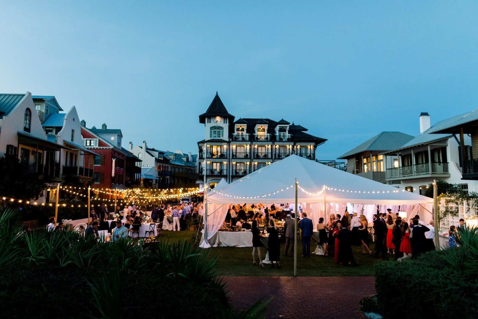 Rosemary Beach White Tent Wedding Recpetion on Western Green_0134