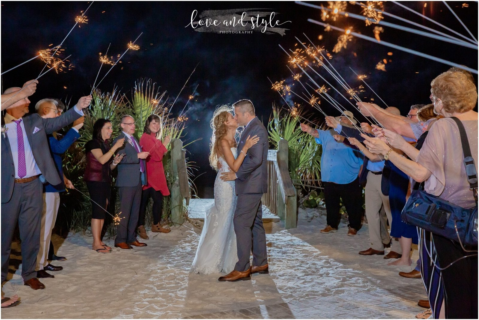 Wedding Photography at The Beach House on Anna Maria Island, Sparkler Exit