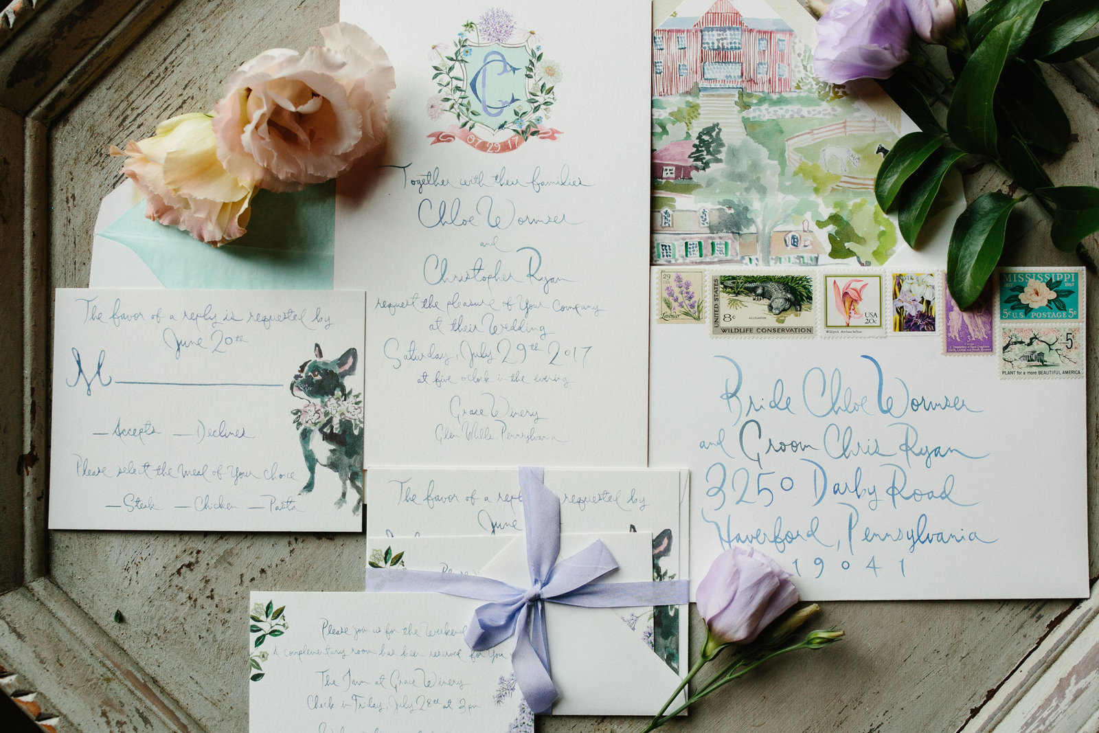 Artistic watercolor invitation suite by Happy Menocal.