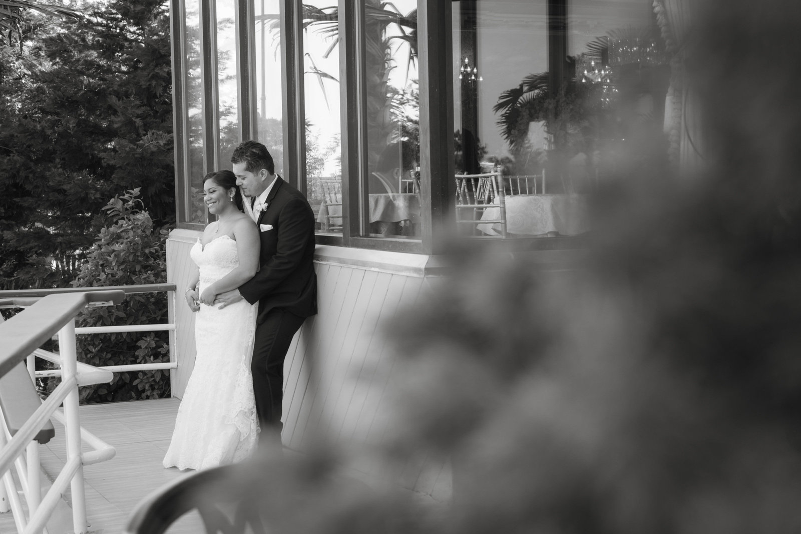 Bride and groom outside at Chateau La Mer