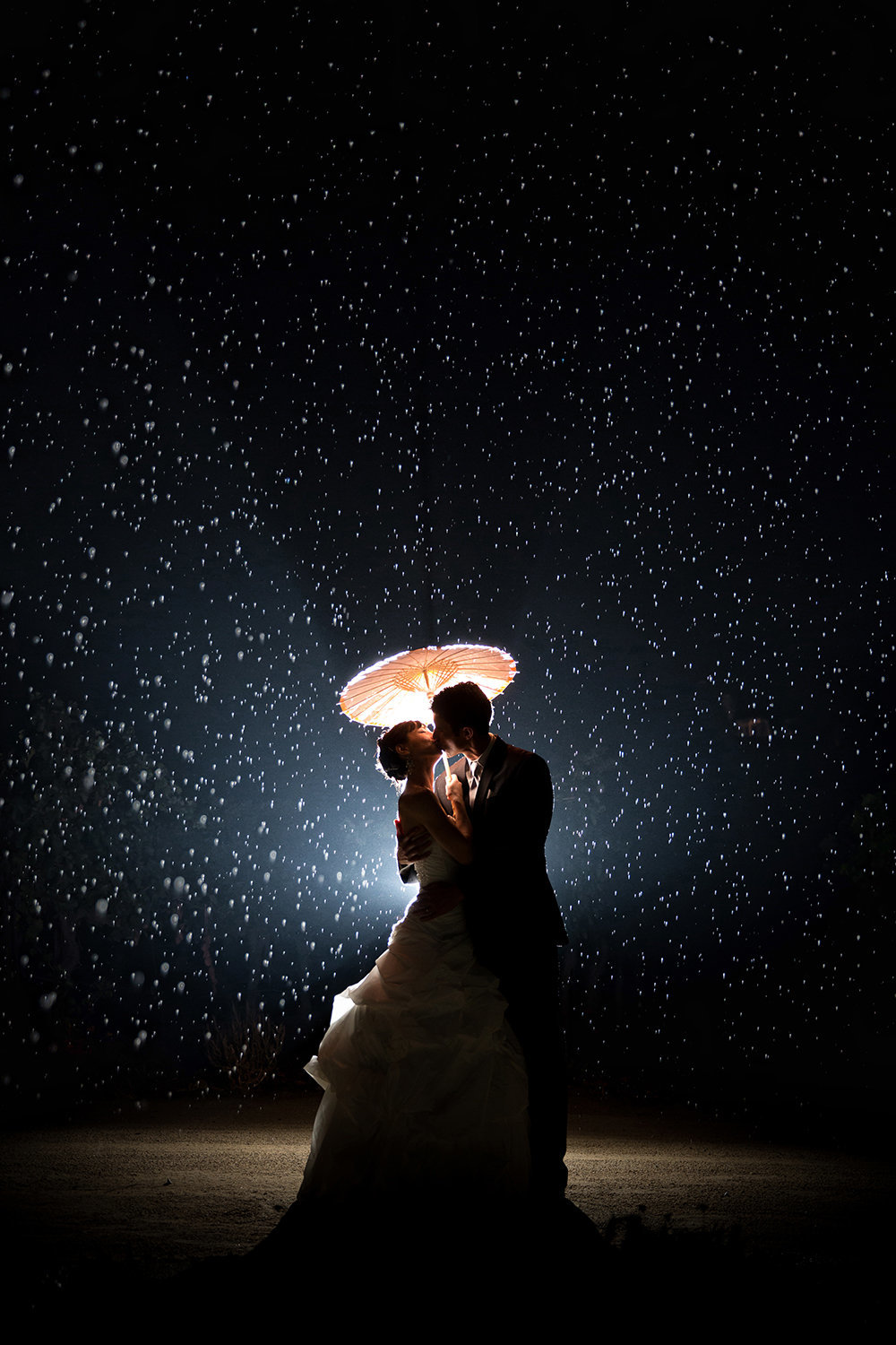 Temecula wedding photos  stunning night shot with rain