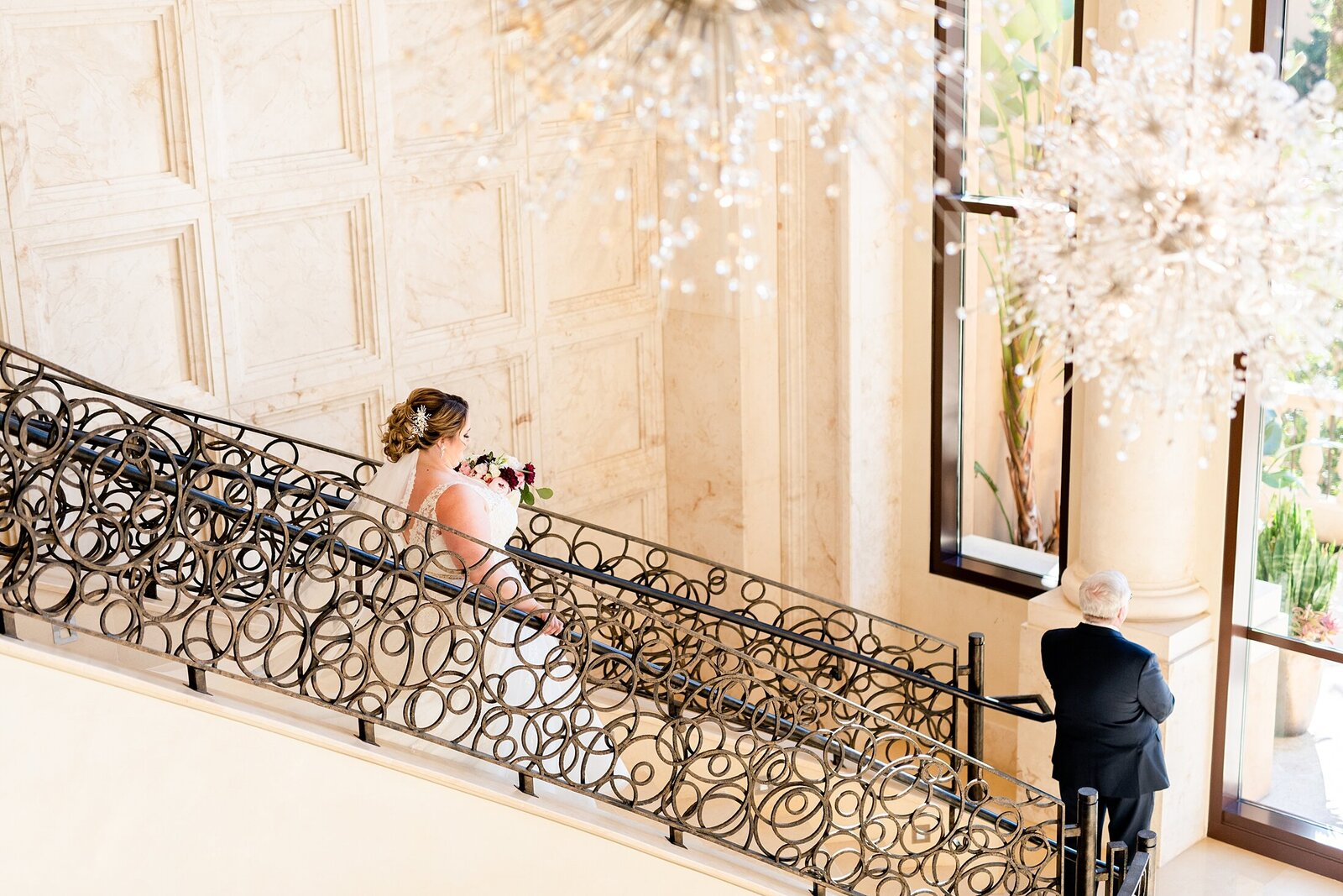 Four Seasons stairs first look | Four Seasons Wedding | Chynna Pacheco Photography