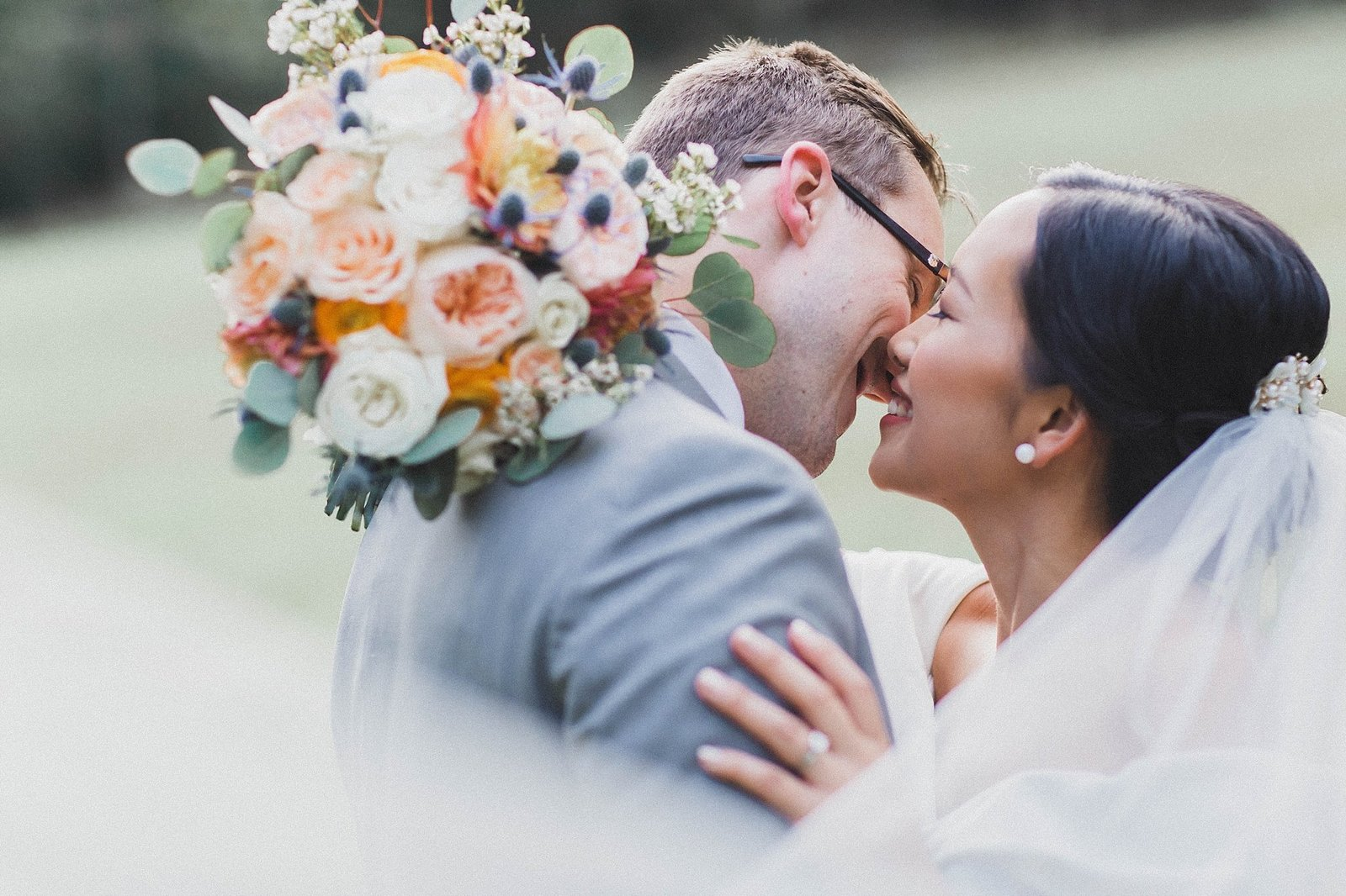 M Harris Studios_Braehead Manor_VA Wedding Photographer_bride groom bouquet kiss