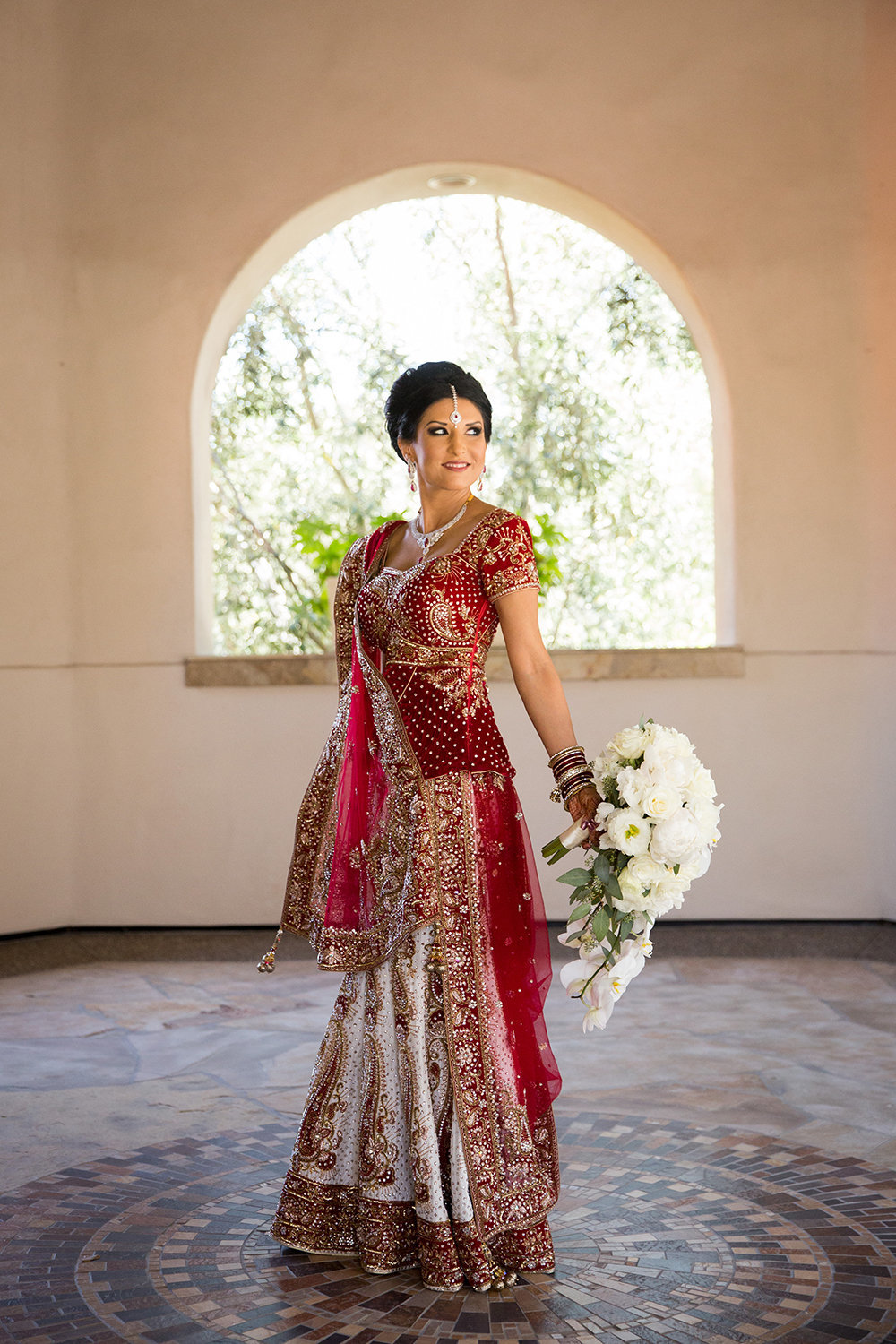 Stunning Hindu Bridal Portrait in a Lovely Sari at an  Indian Wedding at Rancho Bernardo Inn