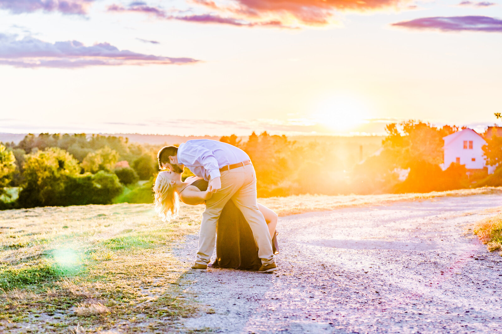 New England sunset engagement photography