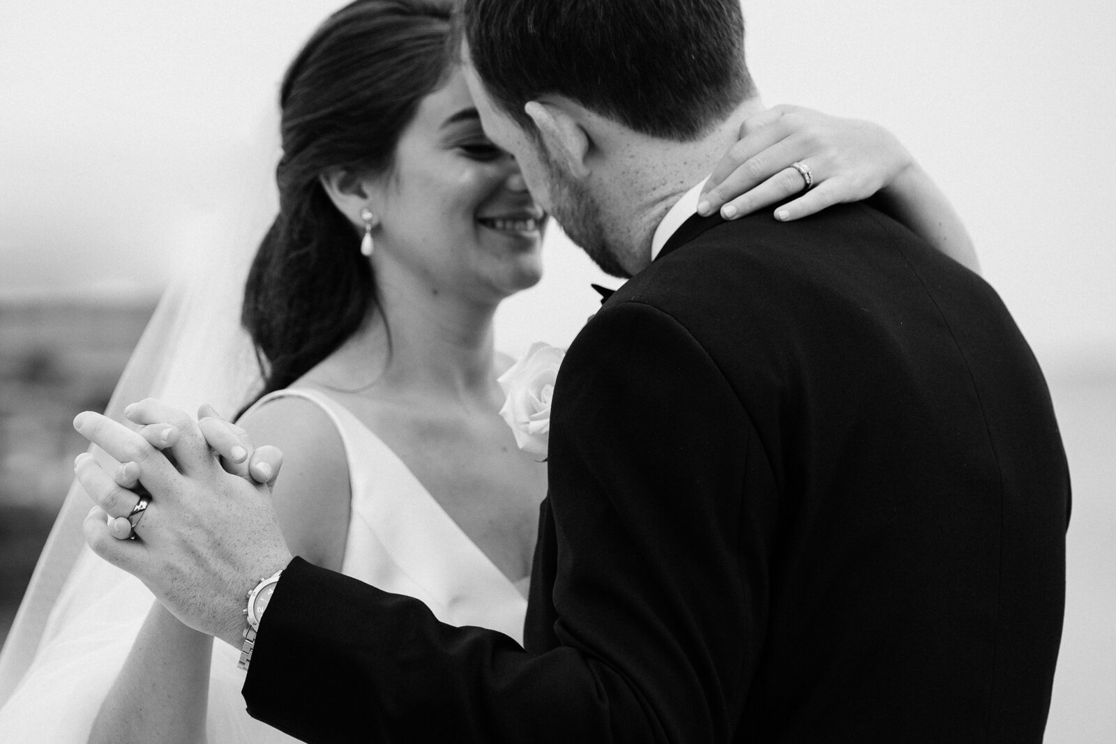 bride and groom black and white slow dance photo Sussex County NJ