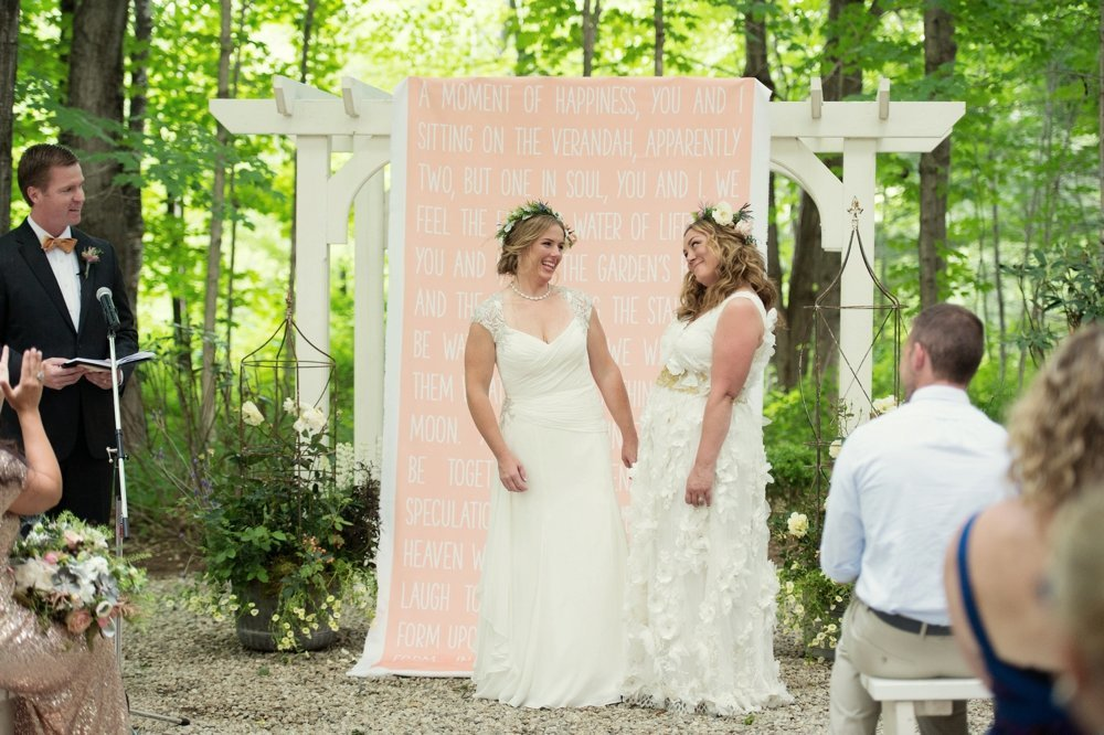 Rustic same-sex wedding at The Barn at Walnut Hill in Maine