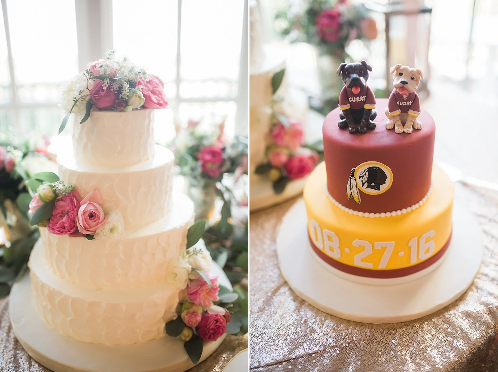 M Harris Studios_Trump National Golf Club Wedding_pink and white wedding cake and redskins grooms cake