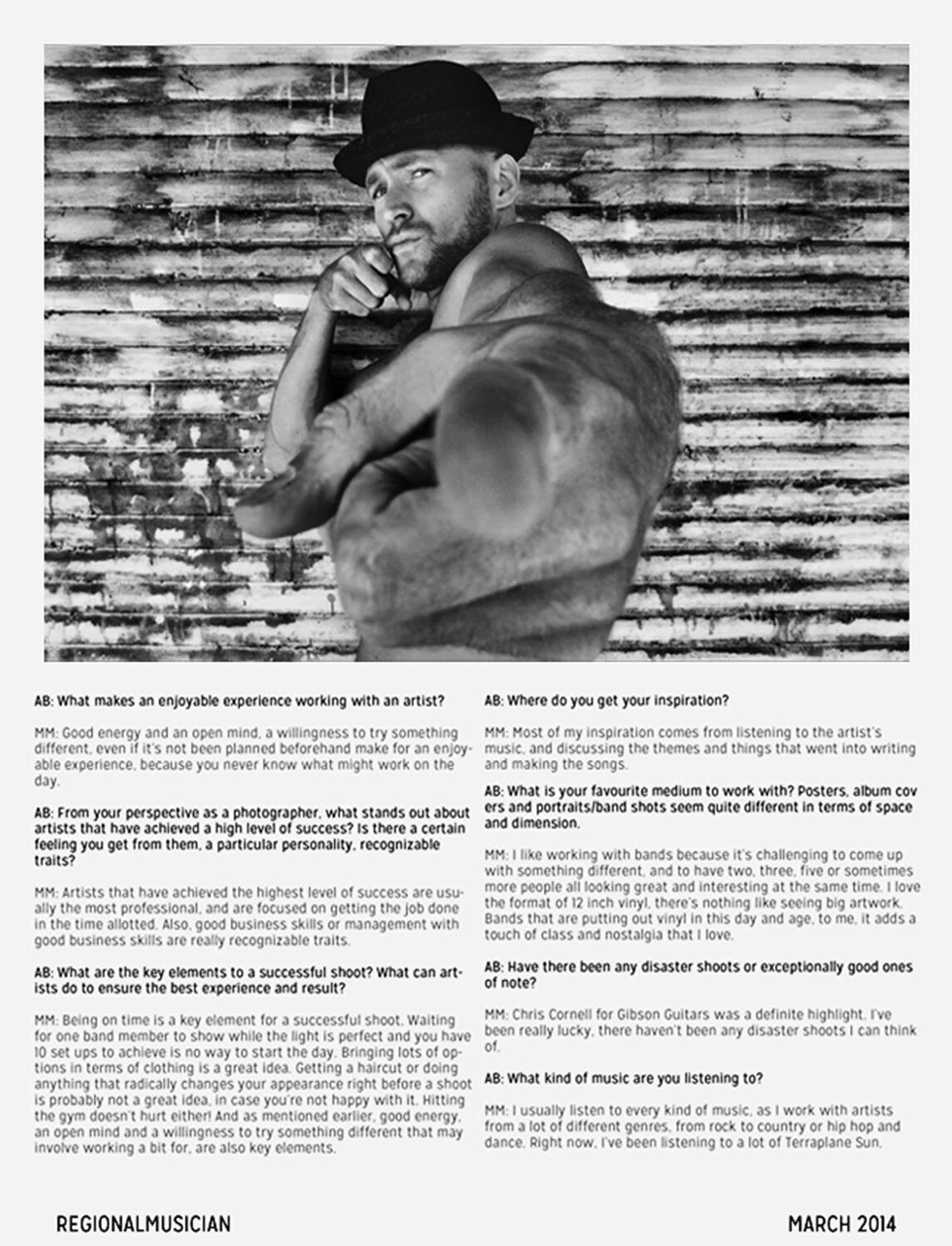 Interview with Photographer Mark Maryanovich Regional Musician Magazine black and white musician portrait rapper against metal wall pointing finger at camera in closeup page 4