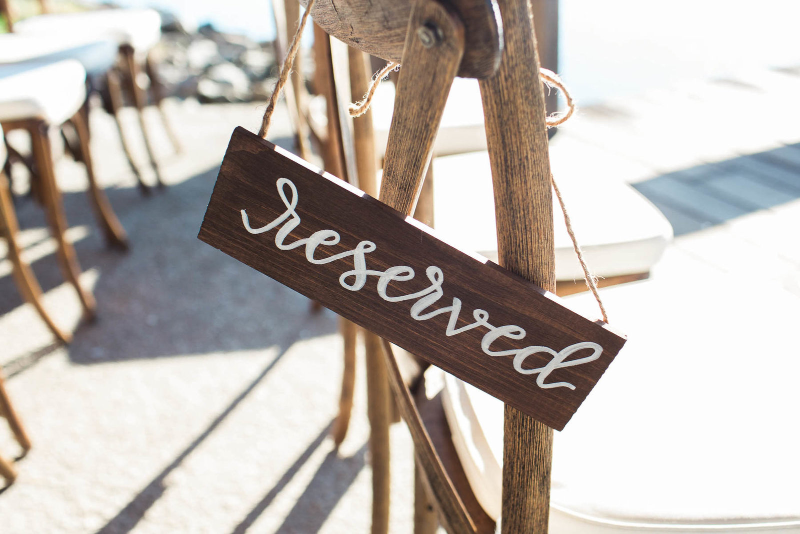 Reserved sign hangs from chair, Boone Hall Plantation, Charleston, South Carolina