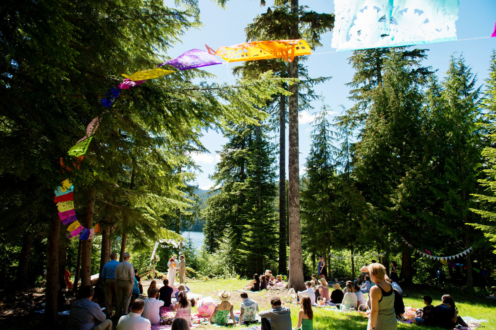colorful flags at wedding ceremony