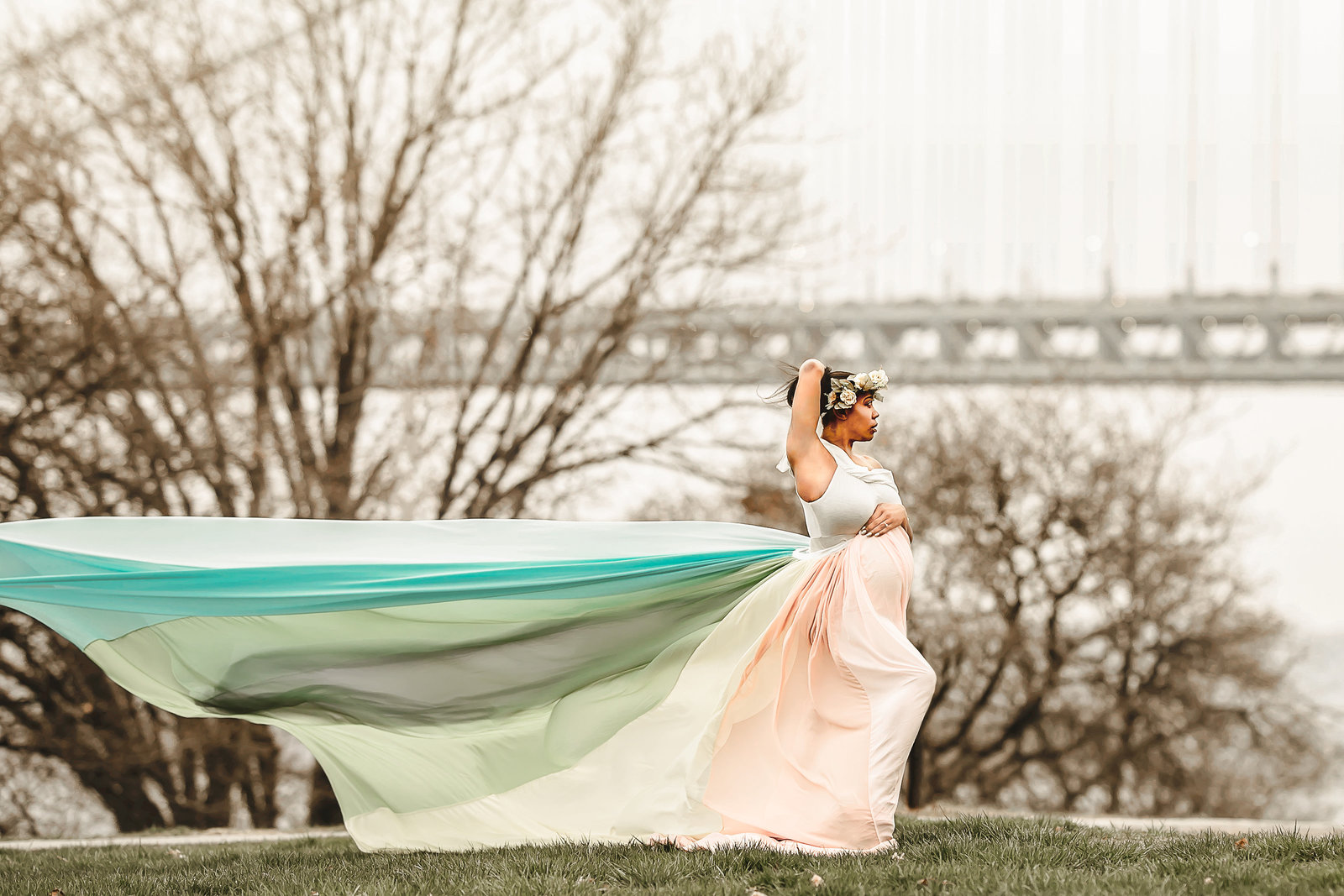 Dreamcatcher Rose Studios - Rainbow Gown NYC bridge