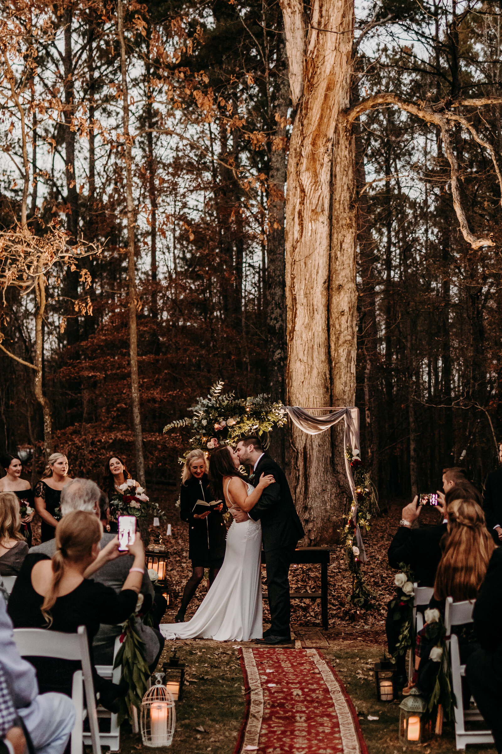 Bride and groom at ceremony in  Hoschton, Georgia wedding