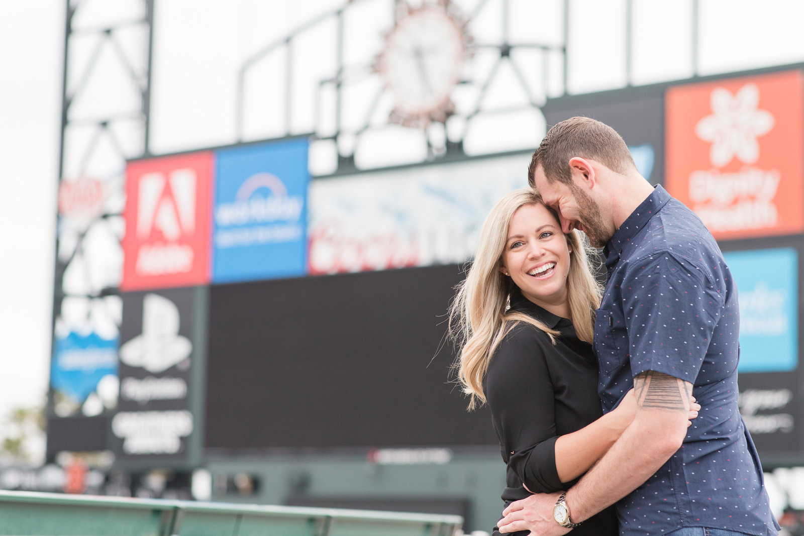San Francisco Oracle Park Engagement Session by Adrienne and Dani Photography