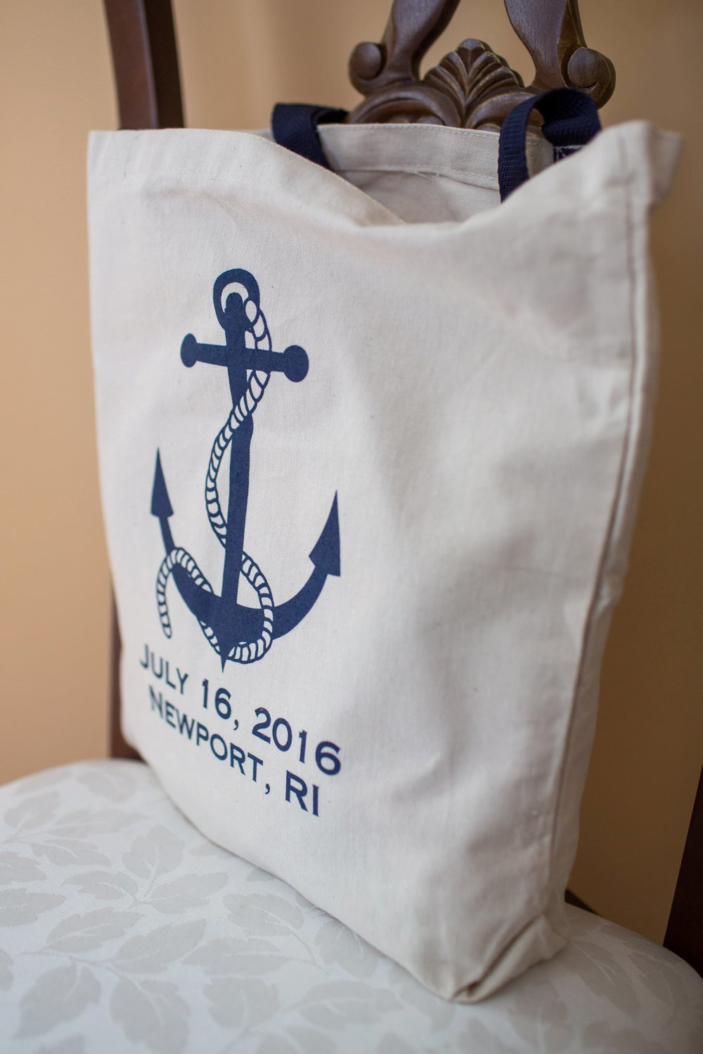 Custom canvas wedding tote for Eisenhower House wedding in Newport, RI