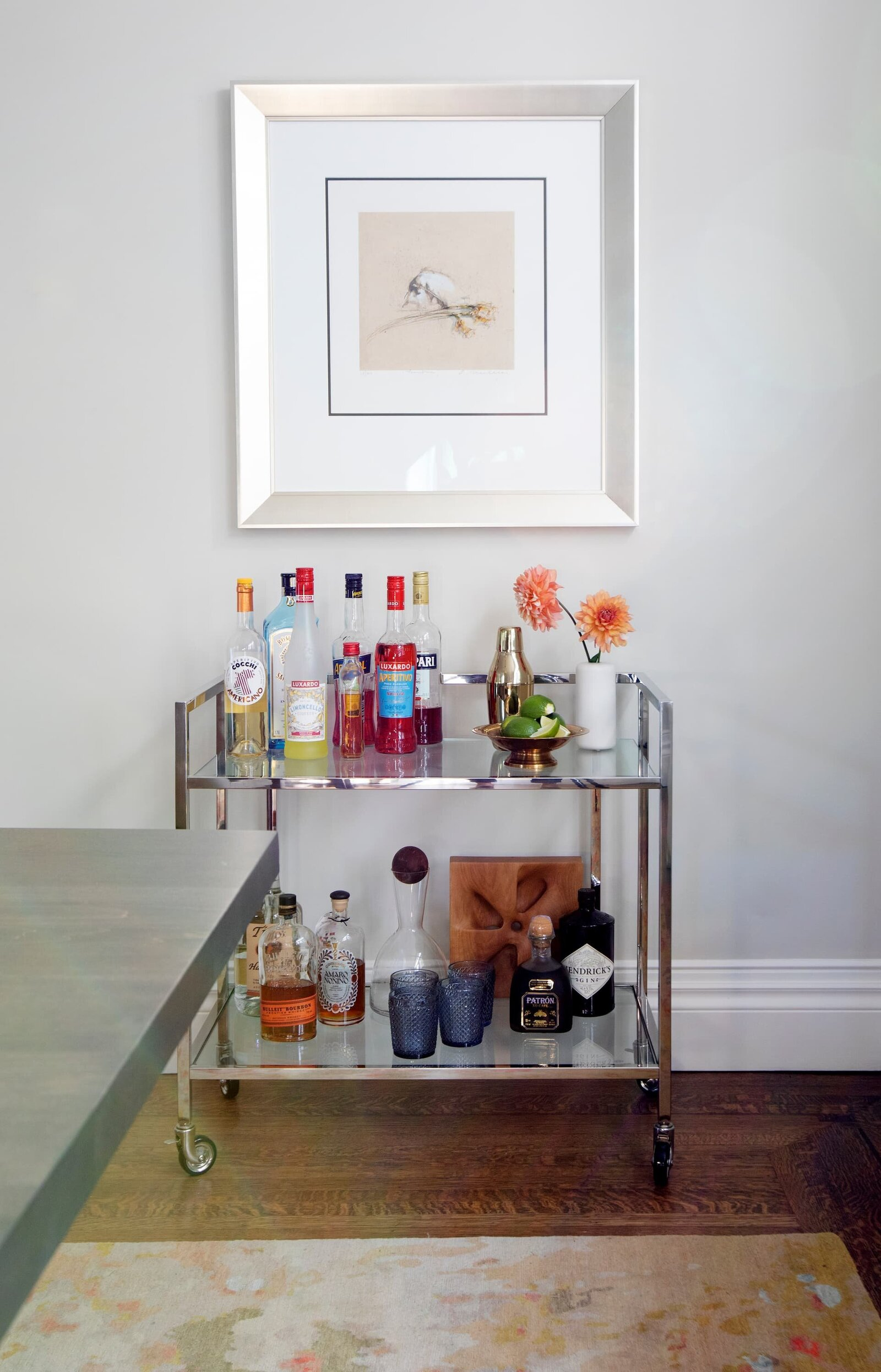Granville Street l Dining Room l Styled Chrome and Glass Bar Cart