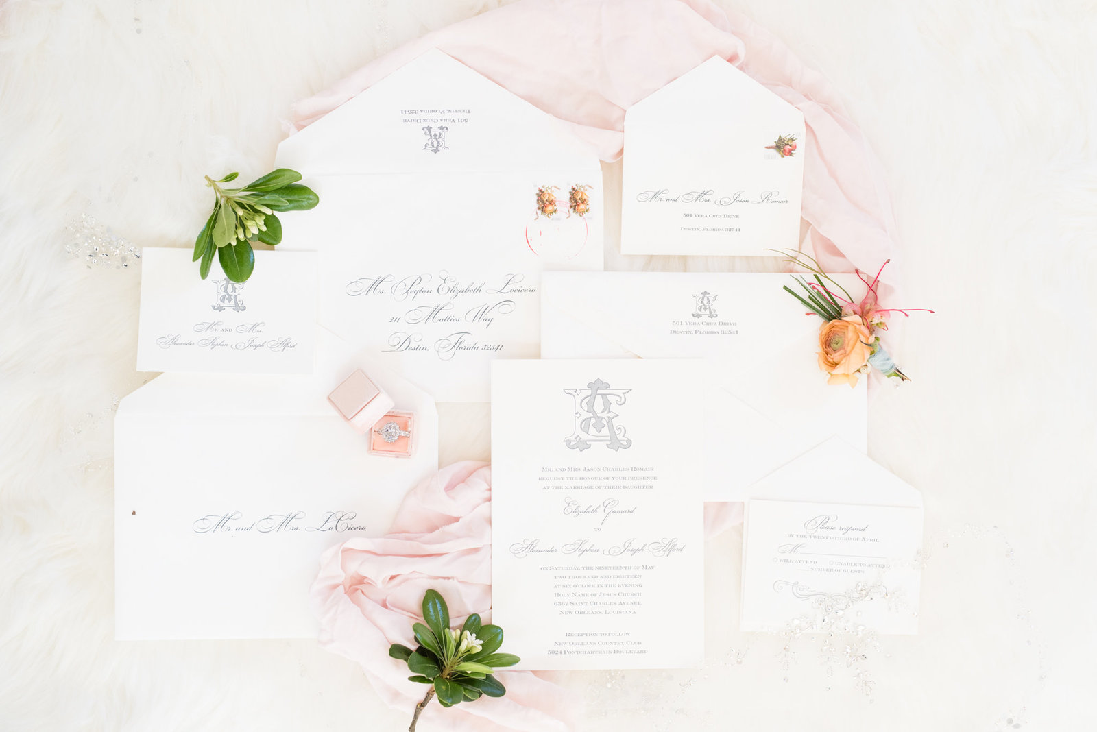 Pink and White Wedding Invitations.