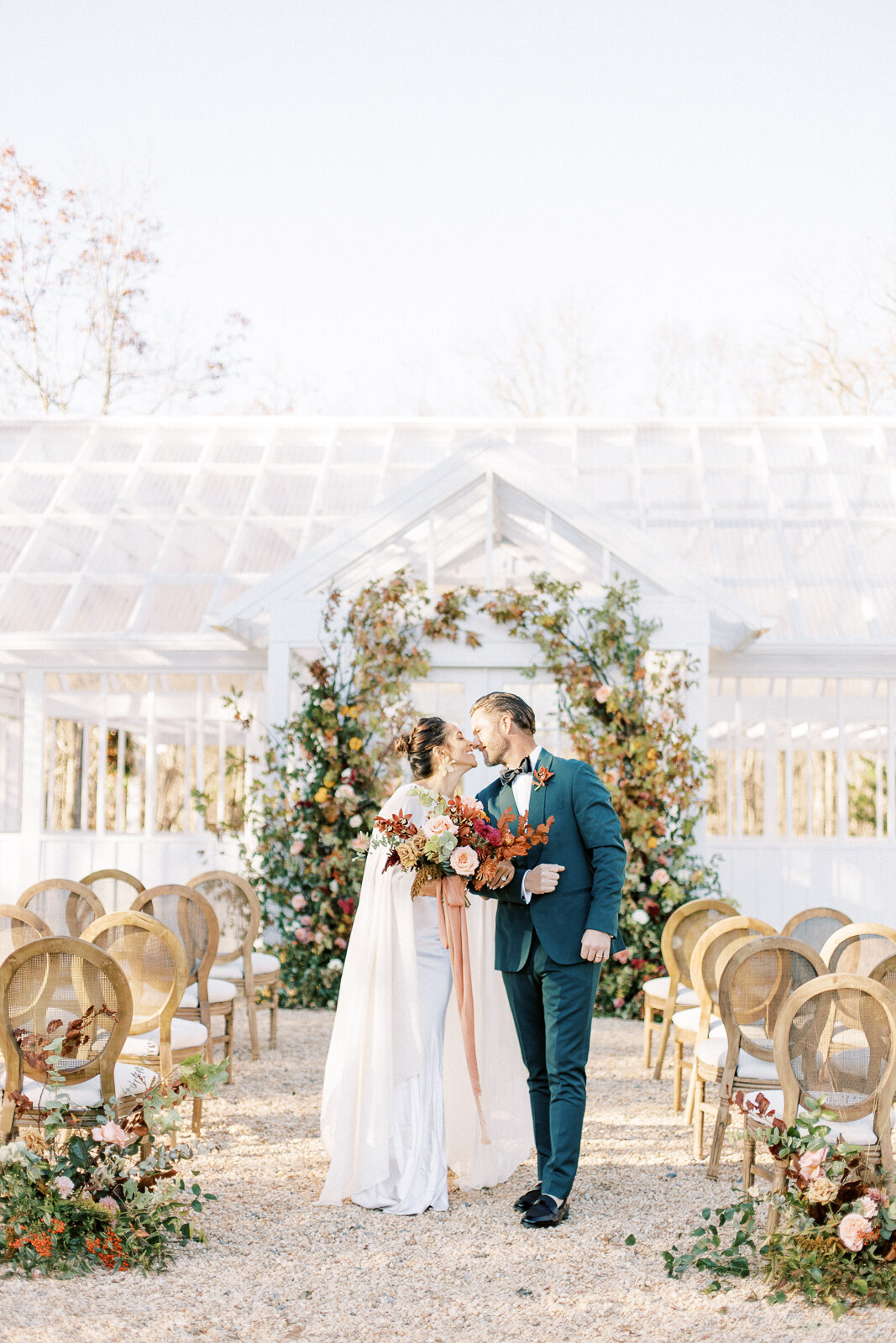 Classic and modern wedding couple at the Ivy Rose Barn greenhouse