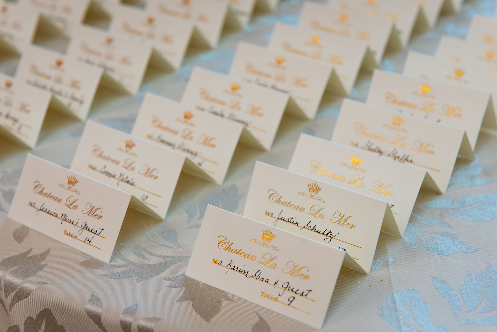 Table cards at Chateau La Mer