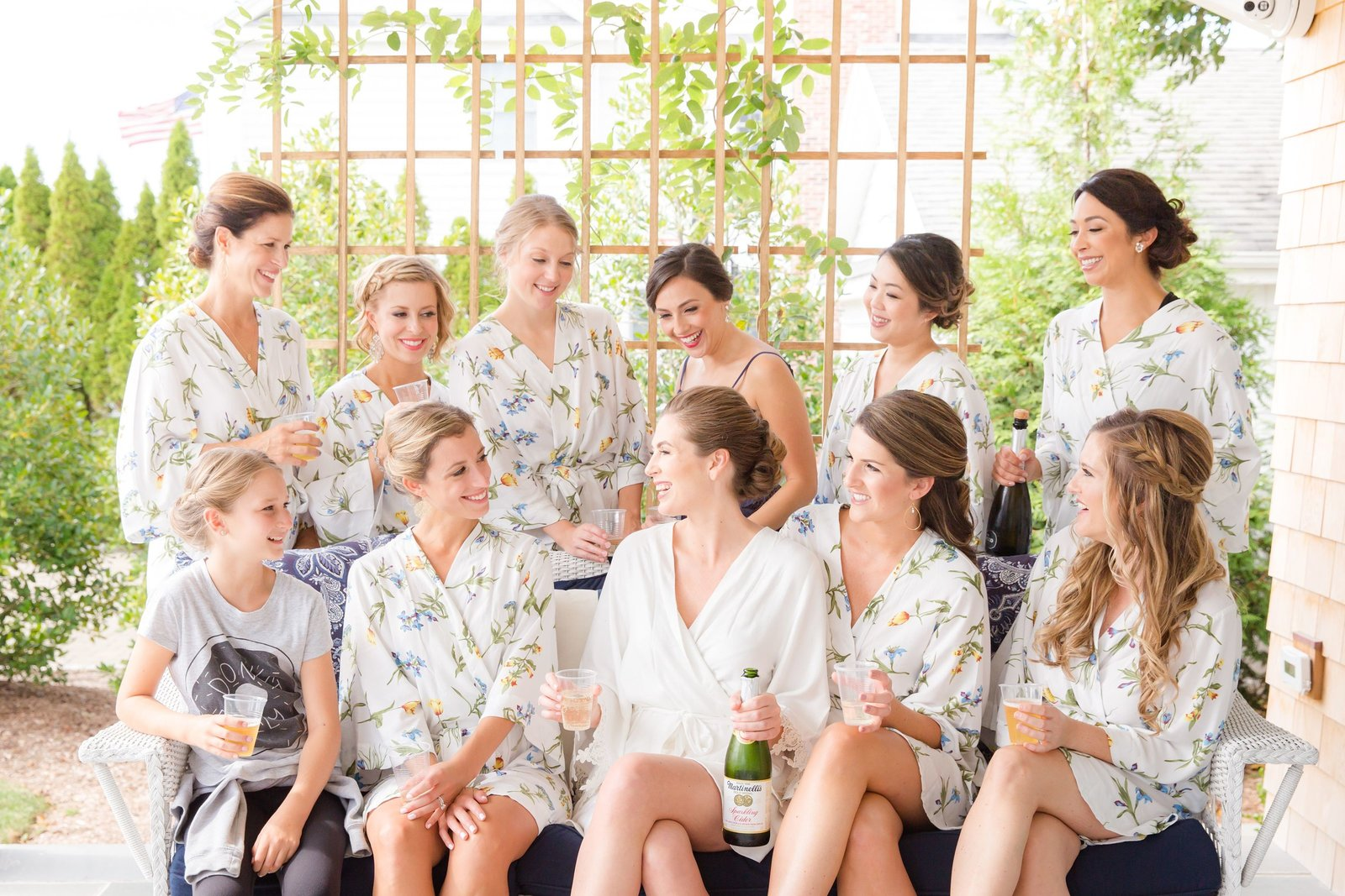 bridesmaids in floral robes