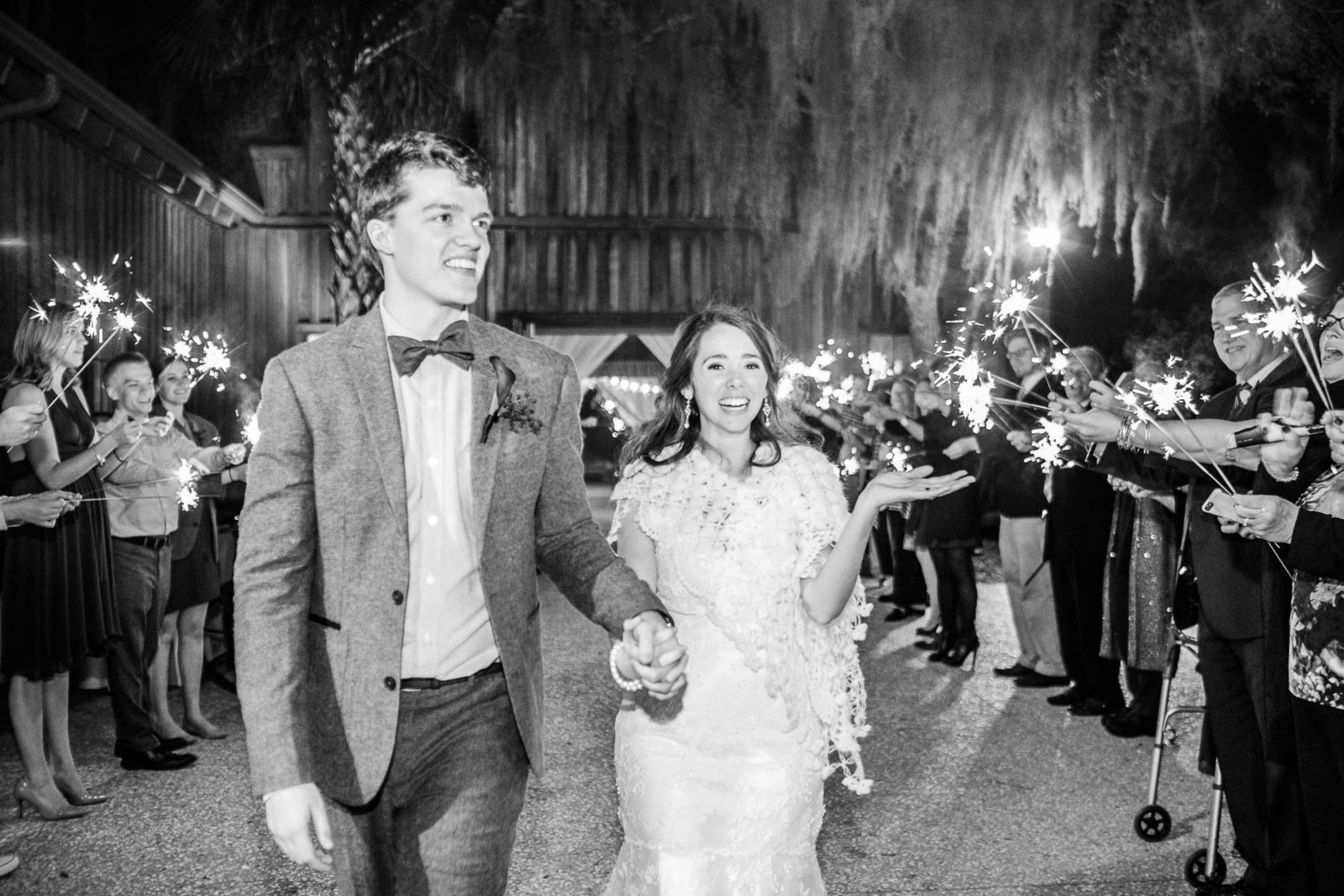 Bride and groom have sparkler exit, Boone Hall Plantation, Charleston, South Carolina